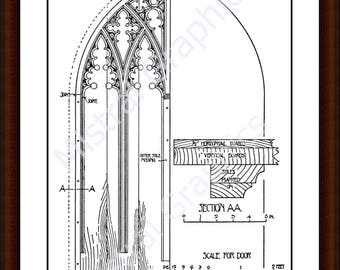 Architectural Detail - South Door Blythburgh Church Suffolk England - Architectural Drawing - Carpenters Drawing - Instant Download