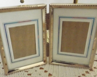 vintage double gold tone metal picture frame self standing hinged vintage picture frame - Dual Picture Frame