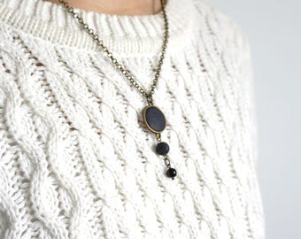 Lariat Lava Necklace Dainty onyx necklace Women necklace Homeopathic Diffuser necklace Tribal necklace Y necklace Lava rock necklace for her