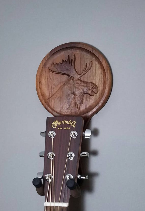 Moose guitar hanger animal head relief carving player