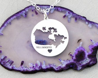SALE • Canada Necklace • Map Charm • Country Silhouette • Custom Circle Pendant • Country Personalized Pendant • Girl Gift Ideas Her Gift