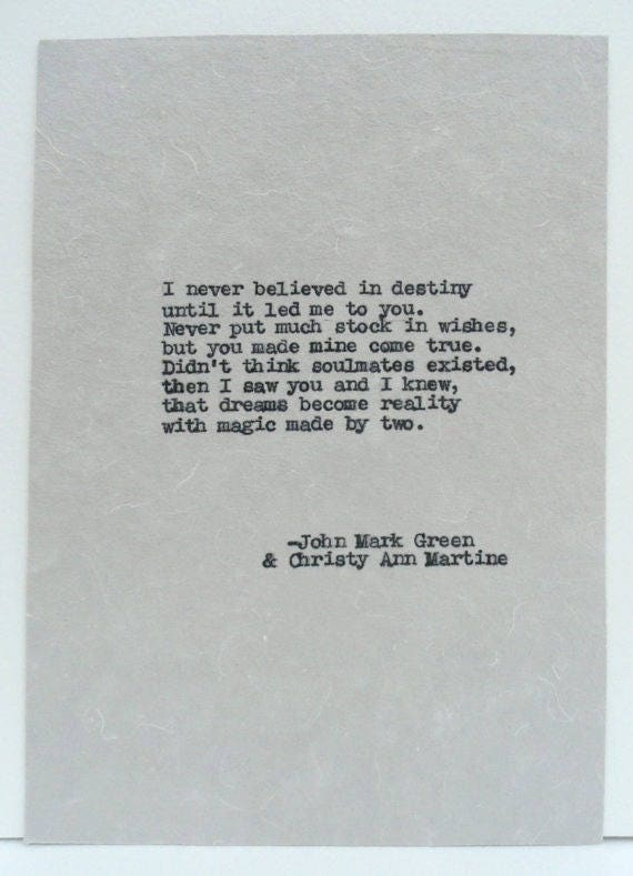 Romantic Anniversary Gifts - Hand Typed Love Poems - Destiny Poem Soulmates Gift by Christy Ann Martine and John Mark Green