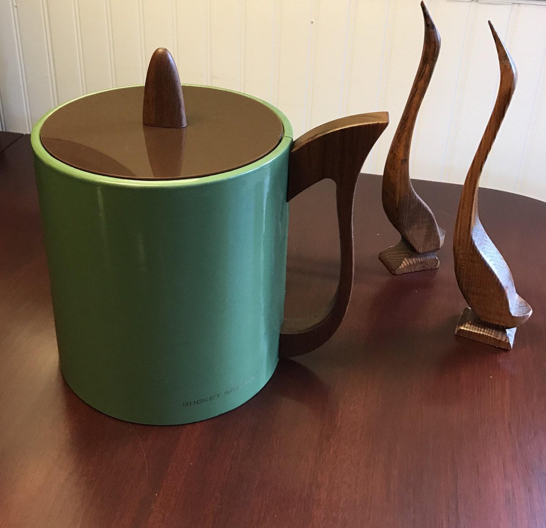 danish modern ice bucket morgan designs bucket brigade drinkware  - danish modern ice bucket morgan designs bucket brigade drinkware midcenturymodern barware lucite lid wood handle