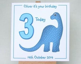 Dinosaur birthday card, personalised handmade birthday card, blue dinosaur card, any age birthday card, 3D age card, UK seller