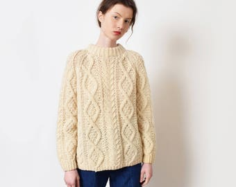 Classic Aran Cable Knit Sweater Vintage Cream Fishermen Sweater XS S M