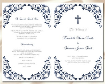 Catholic Wedding Program Template, Navy Blue Leaves Booklet, Printable Church Ceremony Programs, Foliage, Editable Text Instant Download P99