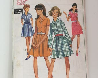 Simplicity 7978 1968 Shirt Dress Sewing Pattern Size 9/10 Bust 30.5""