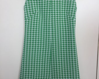 STYLE SIXTIES Green Dogtooth Check 1960s Shift Dress XS