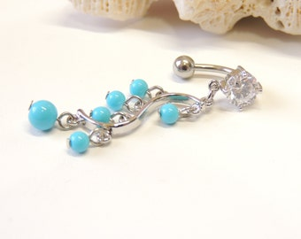 Reverse Dangle Turquoise Belly Ring, Belly Button Jewelry, Navel Rings, 14g 16g Barbell, Reverse Dangle. 1603