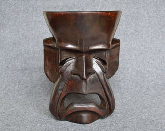Vintage Wooden 'Tragedy' Mask