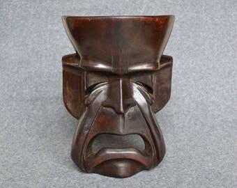 Vintage Wooden 'Tragedy' Mask