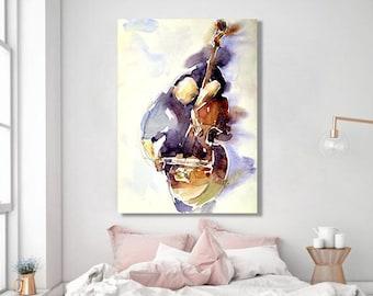 Music Painting, Music Artwork, Original Watercolor Painting, Custom Painting, Original Art, Cello Art, Wall Art Decor, Watercolor Wall Art