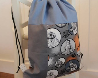 Drawstring backpack, kids backpack, toddler backpack, drawstring bag, Star Wars, ready to ship
