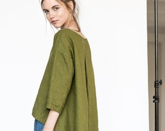 Washed linen cropped front top LEAF in moss green