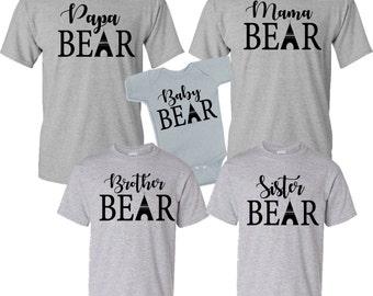 family shirt, mama bear, papa bear, baby bear, sister bear, brother bear, family shirts, Mommy and me, family matching shirts, birthday bear