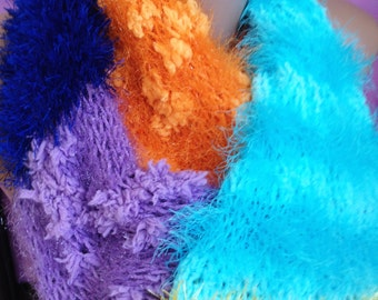 Rainbow knit scarf/ Christmas gift/ Rainbow crochet scarf/ Fluffy knit scarf/ Extra long scarf/ Winter Warm knit scarf/ Bohemia neck warmer