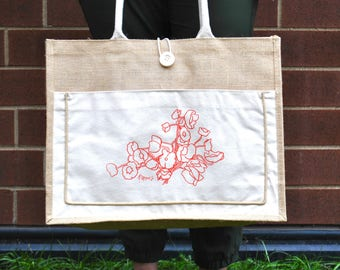 poppies jute tote bag // grocery bag // gardening bag // farmers market // birthday gift for her // mothers day present //