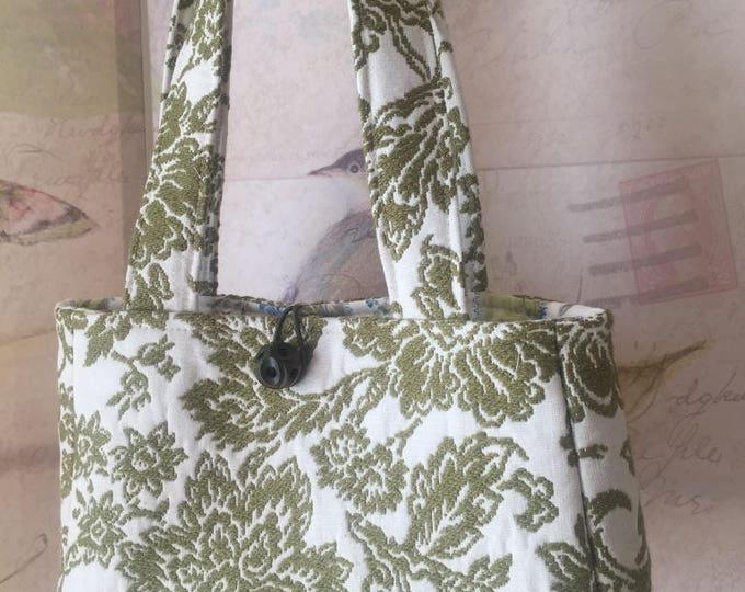 Featured listing image: Sienna Handbag in Vintage Moss & Ivory Jacquard