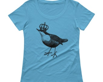 Bird Tshirt - Bird T Shirt - Womens T Shirt - Graphic Tee - Ladies Tshirt - Tshirt With Bird - Bird With Crown Tshirt