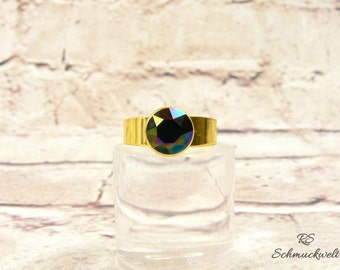 Statement ring gold dark Rainbow colorful glamour Crystal ring ring crystals adjustable set gift girlfriend mother's day Valentine's day