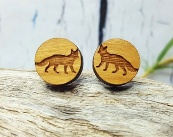 Fox Earring Studs ~ Nature Lovers Gift ~ Woodland Creatures, Forest Friends ~ Coworker Gift, Teenage Girl Gift ~ Everyday Earrings, Wooden