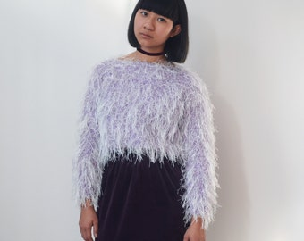 LILAC CROPPED JUMPER -sweater, winter, fluffy, hairy, clueless, 90s, pastel, kawaii, cute, cyber, aesthetic, club kid, shaggy, festival-