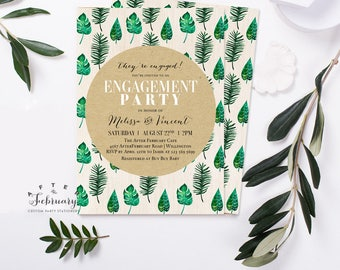 Tropical Engagement Party Invitation Couples Shower Invitation Tropical Invitation Summer Party Wedding Shower Invitation Printable No.524