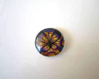 Vintage Purple Pink Yellow Glass Picture Cabochon Purple Stone Pink Vintage Glass Yellow Glass Stone 18mm (1pc) 99V8