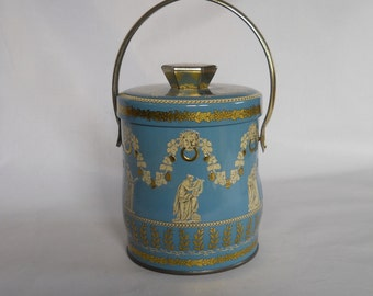 Murray Allen Candy Tin, Small Blue Tin with Cover and Handle, Made in England, Decorative Tin