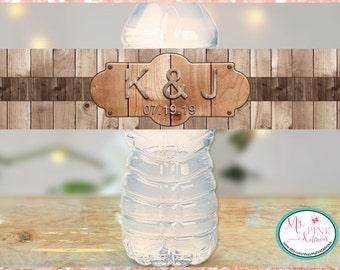 Rustic Wood Personalized Wedding Water Bottle Labels -Bachelorette favors-Wedding favor-Custom labels- Waterproof labels- Waterproof Labels