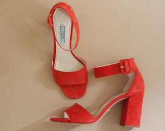 90s PRADA red suede high heel sandals / uk 5  us 7.5  de 38
