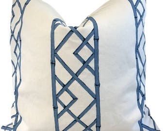 Kravet Latticely Ultramarine Pillow Cover w/Ivory Linen  Blue Trellis Pillow Geometric Kravet Lattice Trellis Pillow ONE PILLOW COVER
