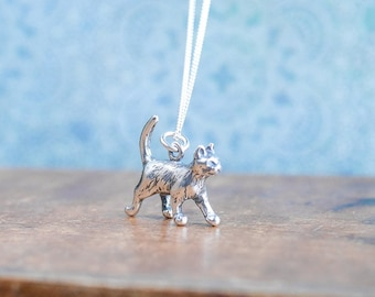 Silver Cat Necklace • Mothers Day jewellery gift presents for girlfriend wife, sterling charm, crazy cat lady, cat lover, animal, pet, kitty