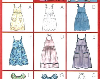 Butterick 6658 Sewing Pattern Girls Nine Fast and Easy Dresses sz 2 thru 5 Uncut