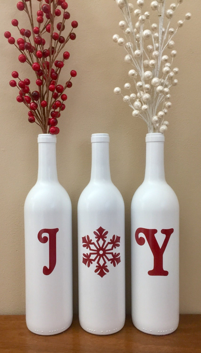 Joy wine bottles christmas decoration christmas joy wine for Christmas bottle decorations