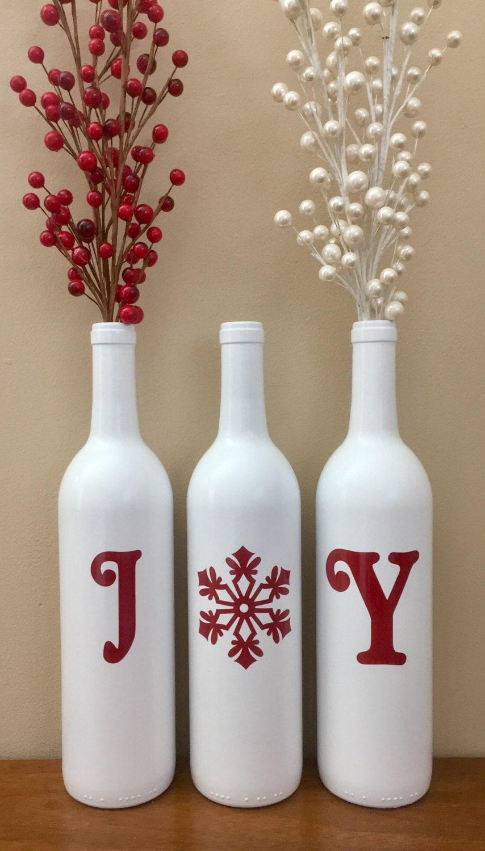 joy wine bottles christmas decoration christmas joy wine. Black Bedroom Furniture Sets. Home Design Ideas