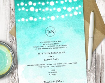 Premade Wedding Invitation - Printable - Watercolor - Ombre - String Lanterns - Rustic Wedding - Personalized - 5x7