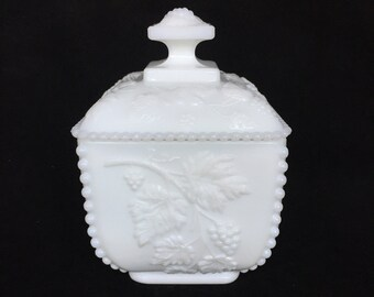Westmoreland Milk Glass Candy or Nut Dish in Paneled Grape Pattern