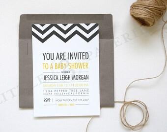 Baby Shower Invitation, Chevron Invitation, Printable Custom Design