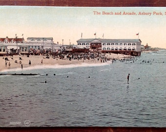 Asbury Park NJ, Vintage Postcard, early 1900's, The Beach and Arcade