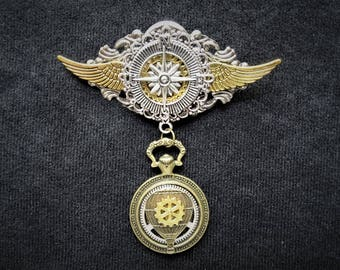 Stylish Jules Verne Phileas Fogg Fantasy Steampunk Hot Air Balloon Airship pilot aviator medal pin badge with hanging pocket watch charm