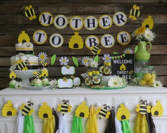 Bumble Bee Baby Shower Banner - Mother To Bee Banner, Spring Baby Shower, Spring Party