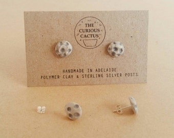 Full Moon Studs - Handmade Lunar Polymer Clay Sterling Silver Earrings