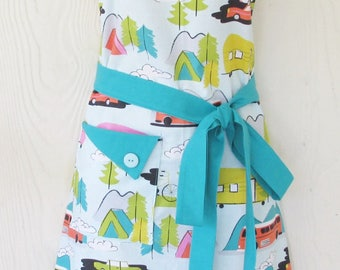 PLUS SIZE Apron, Camping Apron, Retro Trailers, Tents, Summer Travel, Vintage Style Kitchen Apron, KitschNStyle