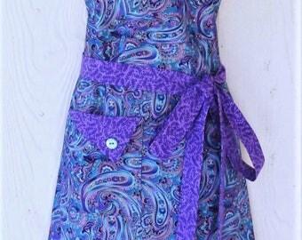 PLUS SIZE Apron, Retro Style Paisley Apron, Womens Full Apron, Blue and Purple, Jewel tones, KitschNStyle