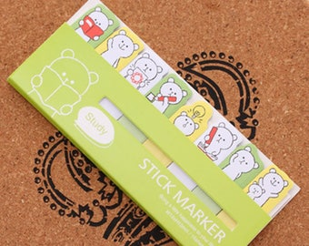 Bear Sticky Note Set - Green (15 Sheets x 8 pcs) Korean Stationery Funny Sticky Notes Post It Note N0288