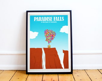 Paradise Falls - Up Pixar Poster Print - Disney Art -  UP - Wall Art - Poster Print (Available In Many Sizes)