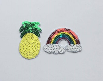 Sequin Pineapple and Rainbow Iron on Patch Set