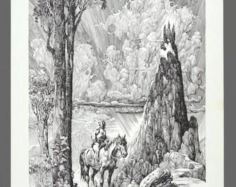 "1979 Alfredo P. Alcala ""Voltar"" Limited Edition 245/1000 Print Plate Black & White Art 11.25 x 16"