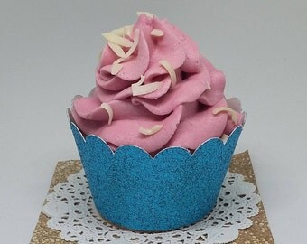 Blue Turquoise Glitter Cupcake Wrapper. Blue Glitter Scalloped Cupcake Wrappers. 15/pk Handcrafted in 2-3 Business Days.